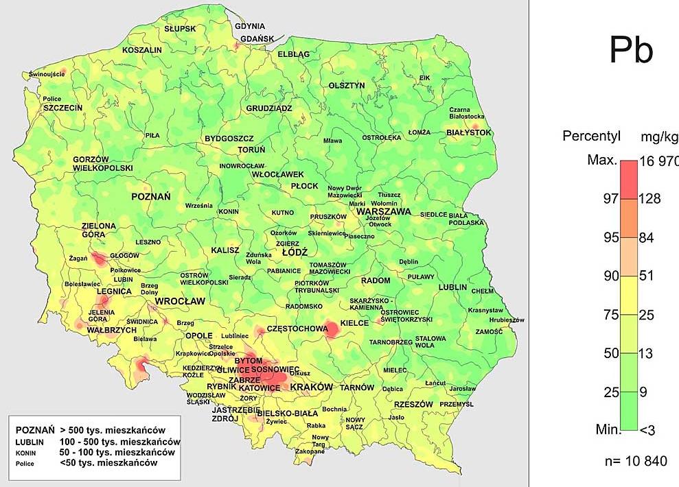 Rys.5 Zawartość ołowiu wglebach wPolsce (https://www.pgi.gov.pl)